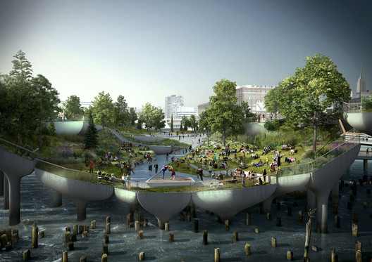Heatherwick's proposed Pier 55 in New York. Image © Pier55, Inc. and Heatherwick Studio, Renders by Luxigon
