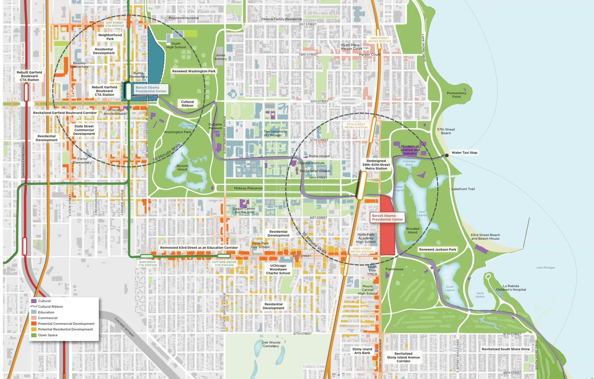 Poll: Who Will Design Obama's Presidential Library and Museum?, The University of Chicago's two proposed sites. Image © OPLSouthSide.org