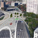 "Finalist D: ""Organic Canopy"" at Downtown's Courtland/McGill Bridge. Image Courtesy of Atlanta Bridgescape Competition"