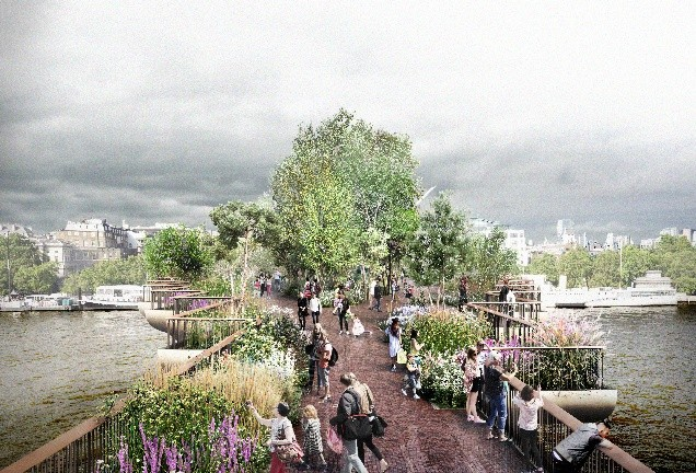 Árboles, arbustos y flores: la exuberante vegetación del Garden Bridge de Londres
