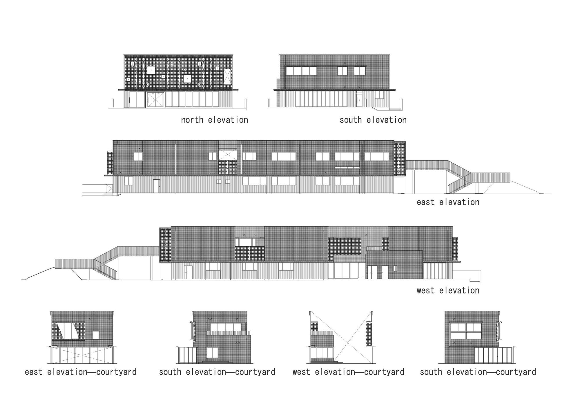 Elevation And Plan : Gallery of hanazono kindergarten and nursery
