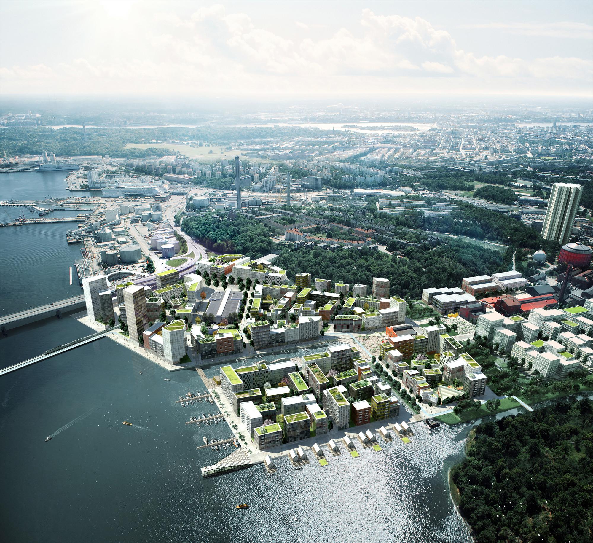 ADEPT and Mandaworks Design Masterplan for Stockholm's Royal Seaport, Birdseye view. Image Courtesy of ADEPT/Mandaworks