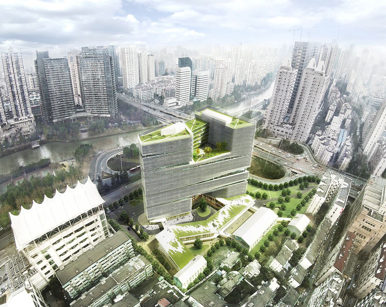 LYCS to Break Ground on Zhejiang Printing Group Headquarters in China, Aerial view. Image Courtesy of LYCS Architecture
