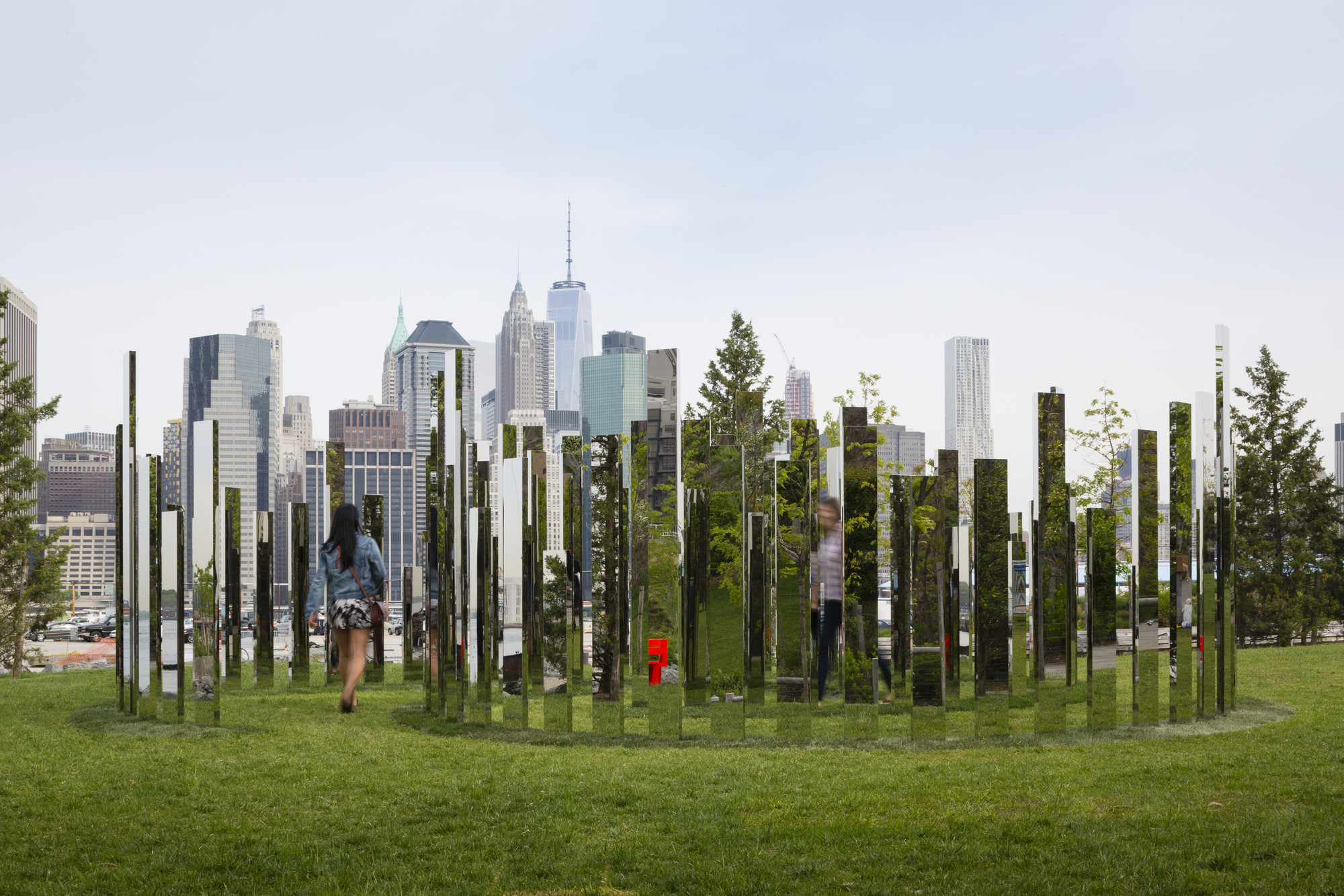"Please Touch the Art: Jeppe Heine's ""Labyrinth NY"" Installed in Brooklyn, ""Mirror Labyrinth NY"", Jeppe Hein (2015), High polished stainless steel, aluminum,106.5 x 346.5 x 338.5 inches"