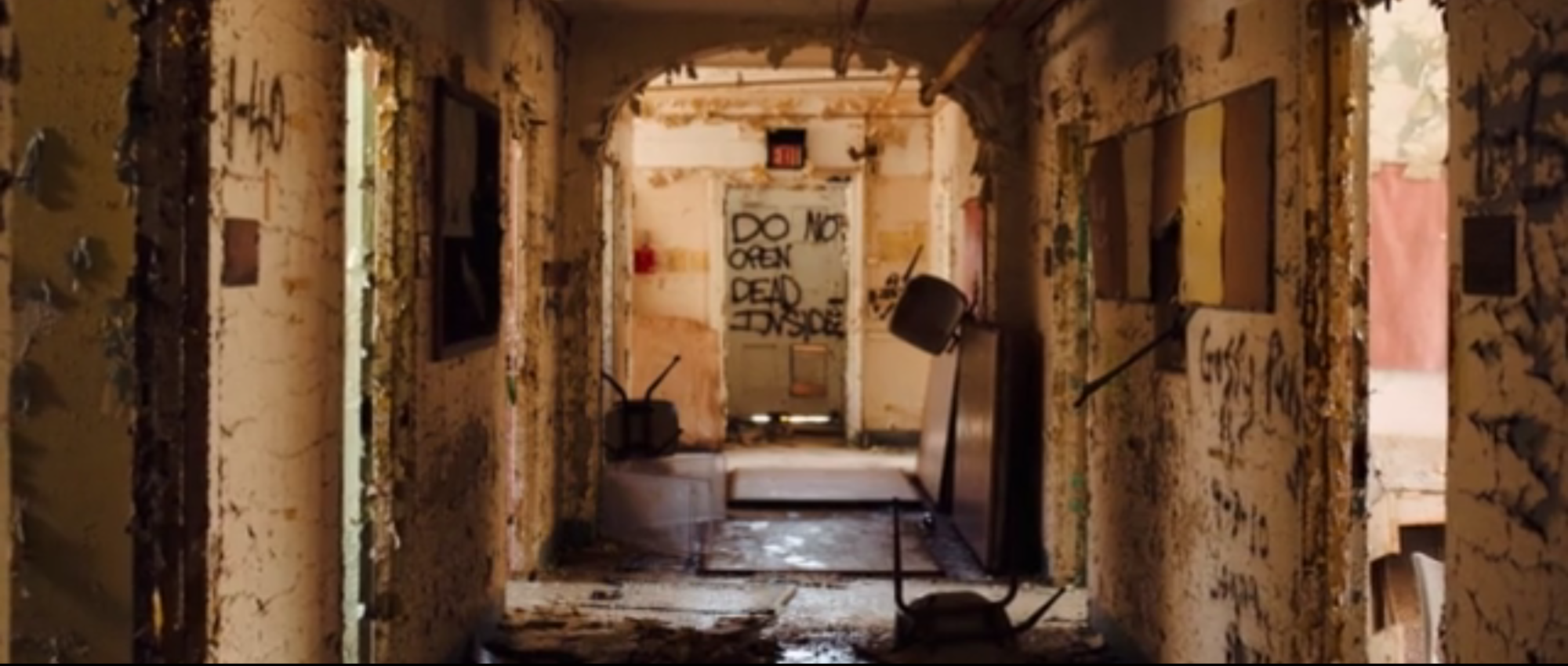 This Video of an Abandoned Insane Asylum Will Mess with Your Mind, Screenshot from video of asylum interior