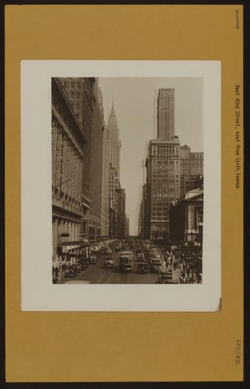 "Step Back in Time with the New York Public Library's ""OldNYC"" Archive Project, ""Manhattan: 42nd Street (West) - 6th Avenue"", Harold Kaye (1931). Image Courtesy of The New York Public Library http://www.oldnyc.org/"
