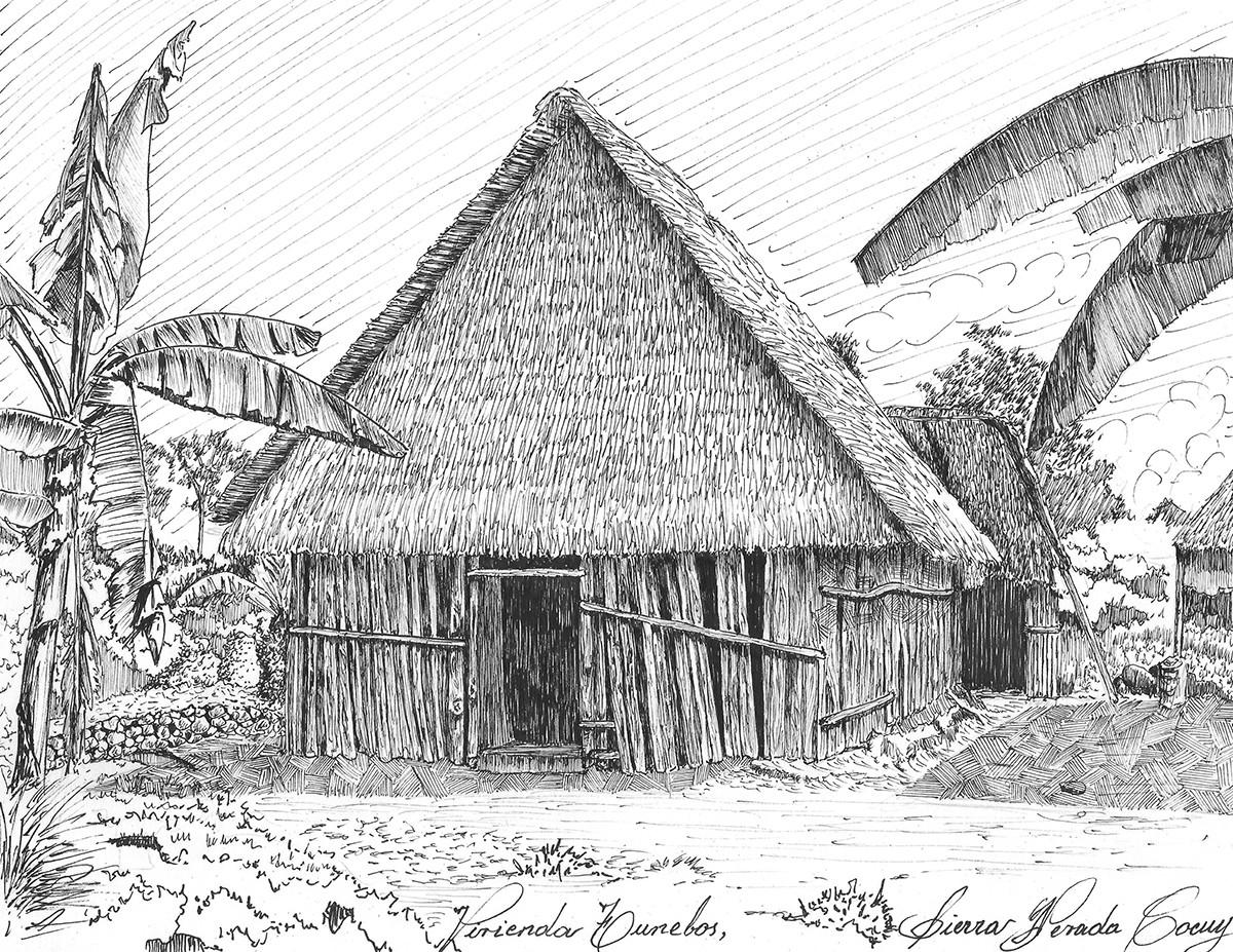 Historia dibujada de la arquitectura en Colombia, Vivienda Tunebos, Sierra Nevada del Cocuy. Image © Jorge Eduardo Fernández Saavedra