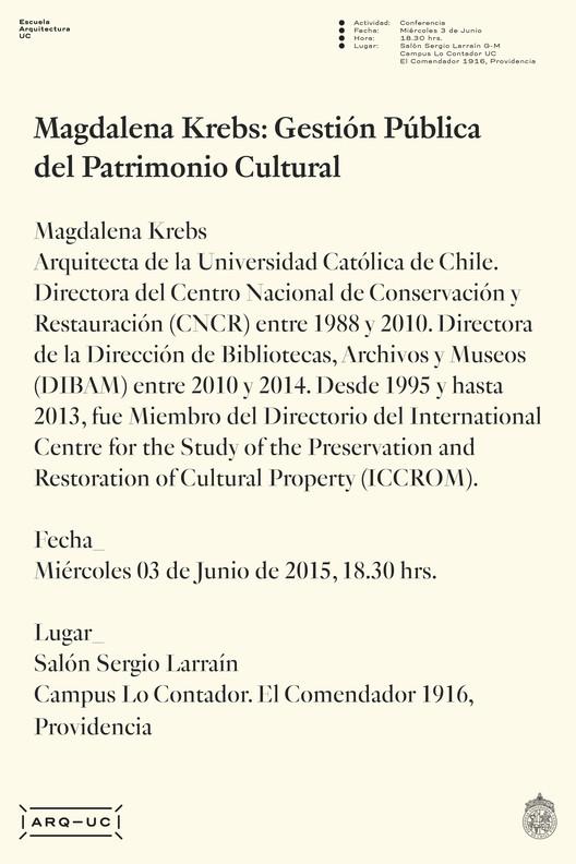 Conferencia Magdalena Krebs: gestión pública del patrimonio cultural / Chile