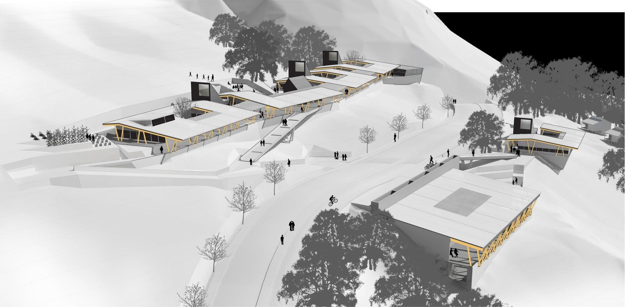 Cambio en reglamento de ChileCompra permitirá mayor valoración de la calidad arquitectónica en Concursos Públicos, 1er lugar Concurso Colegio Robinson Crusoe para Archipiélago Juan Fernández. Image Cortesia de DRAA