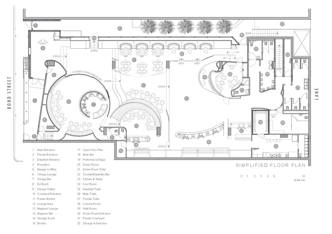 Gallery of bond bar hachem 16 for Coffee shop floor plan with dimensions