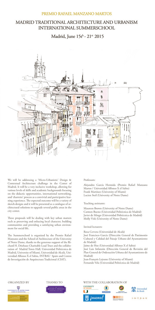 Madrid Traditional Architecture and Urbanism Summerschool 2015, escuela internacional y gratuita de verano