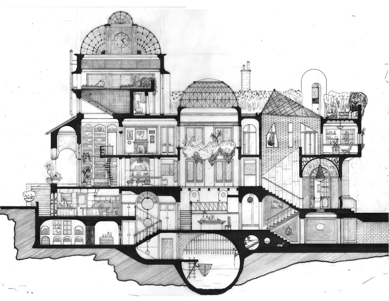Galeria de arte e arquitetura desenhos arquitet nicos que evidenciam o espa o do eixo z 13 - Mesa de dibujo para arquitectura ...