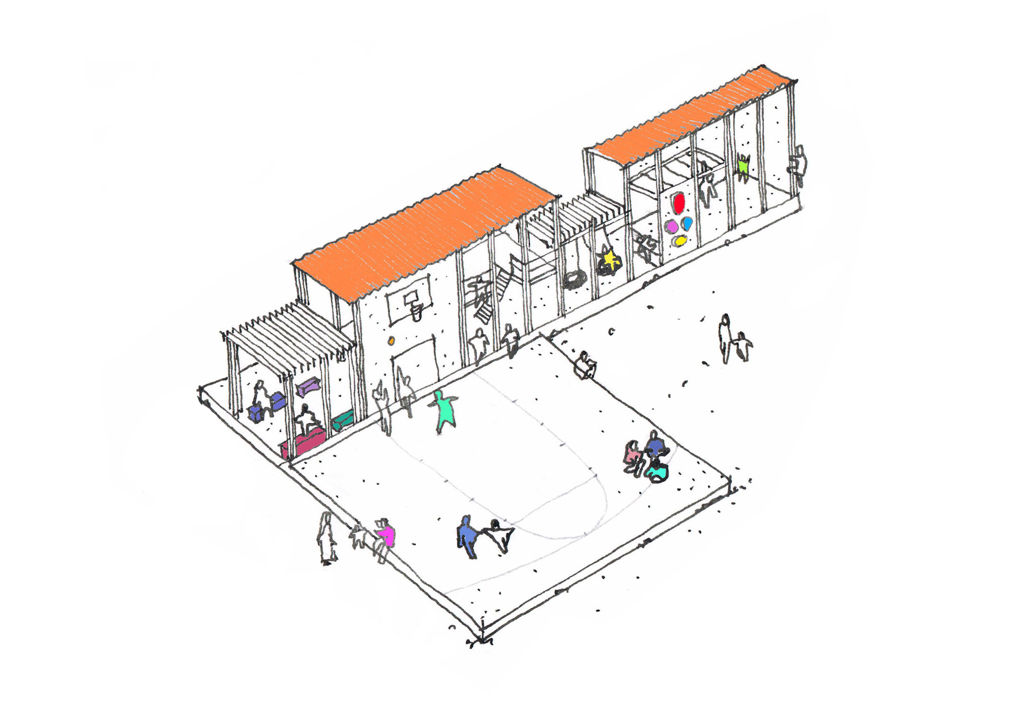 CatalyticAction's Playground Puts Children at the Center of Relief Efforts for Syria, A drawing of the proposed playground. Image © CatalyticAction