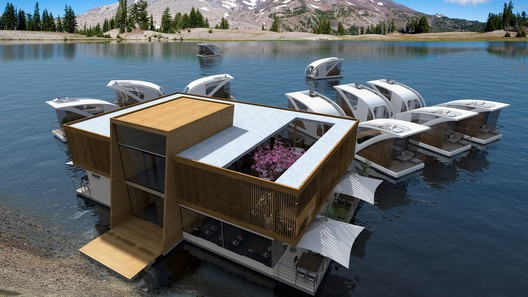Floating Hotel with Catamaran Apartments. Image Courtesy of Salt & Water Design Studio