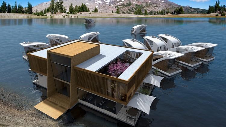 Salt & Water projeta hotel com apartamentos flutuantes, Floating Hotel com apartamentos-catamarã. Cortesia de Salt & Water Design Studio