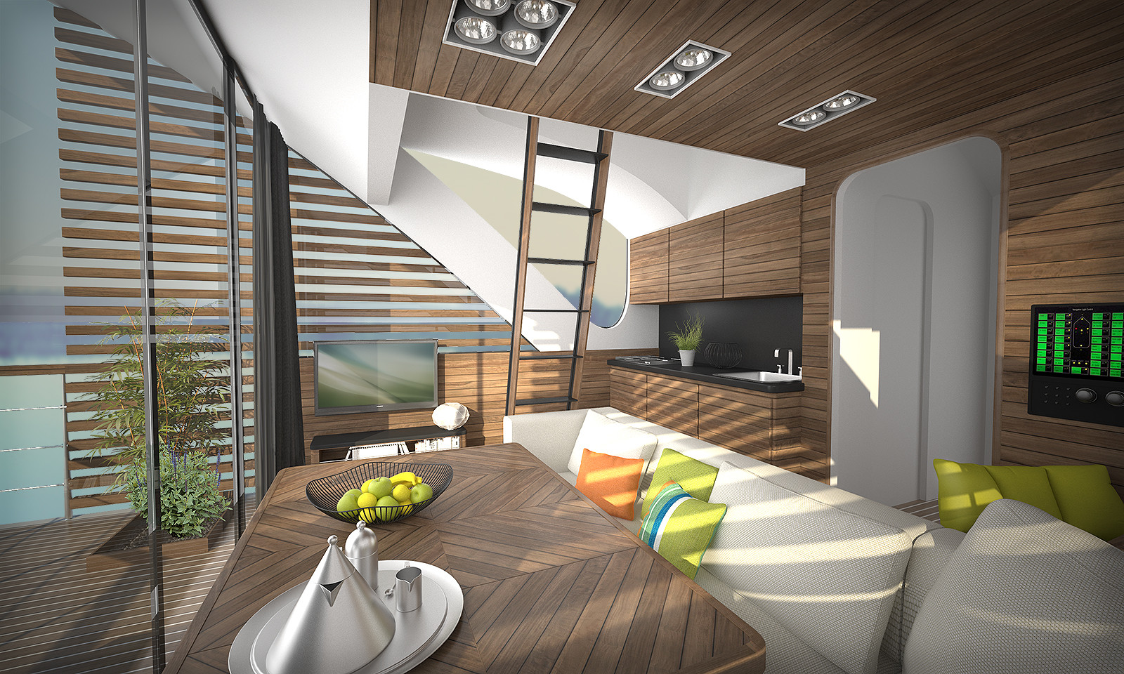 salt water design floating hotel with catamaran apartmentscatamaran interior view image