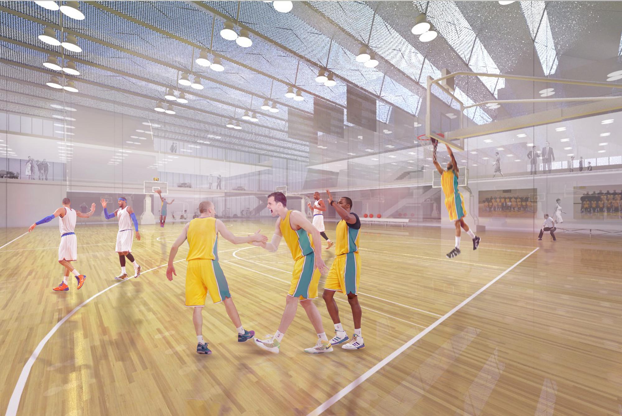 AECOMu0027s Basketball Training Facility Encases A Diverse Range Of Program In  LA. Interior Court Render / AECOM LA Design Studio