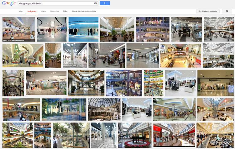 "Busca no Google: ""shopping mall interior"". Image via Google"