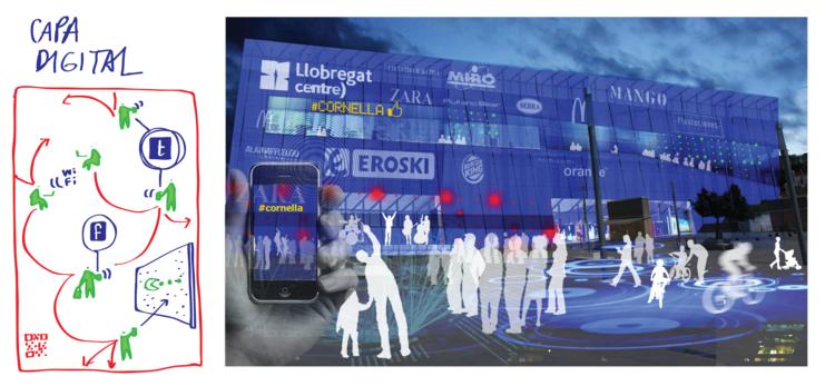A dimensão digital incorporada como parte do edifício. Image © Ecosistema Urbano