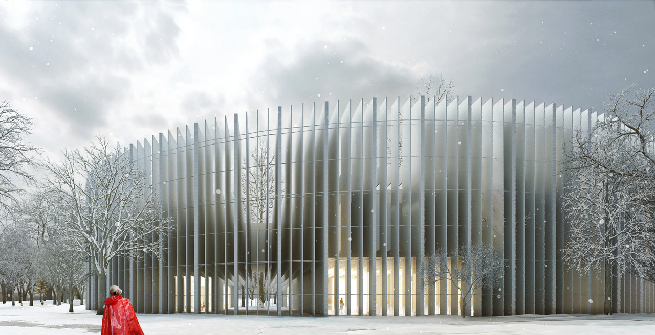 MenoMenoPiu Proposes a Circular Form for the House of Hungarian Music, Exterior. Image Courtesy of +imgs