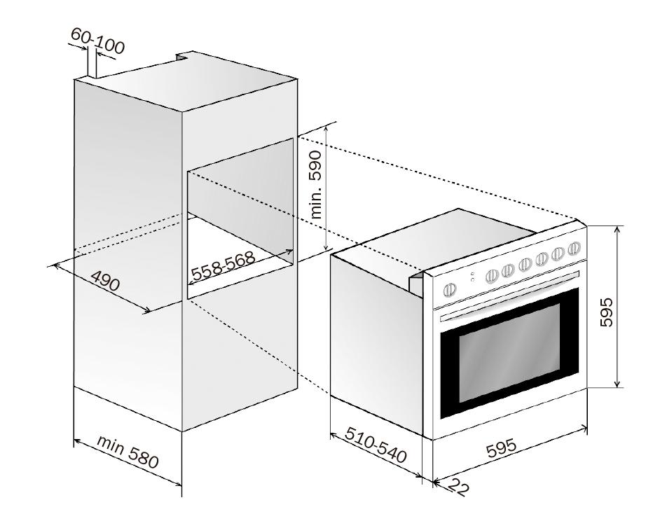 Materiales hornos empotrables tipos e instalaci n for Horno electrico dimensiones
