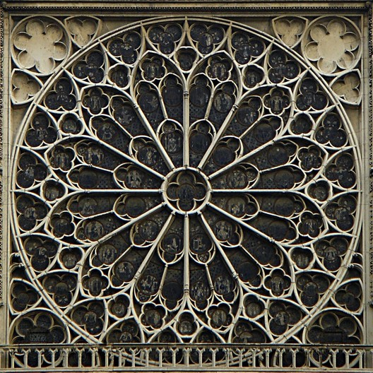 The rose window at Notre Dame de Paris. Image © Flickr CC user Alexandre Duret-Lutz