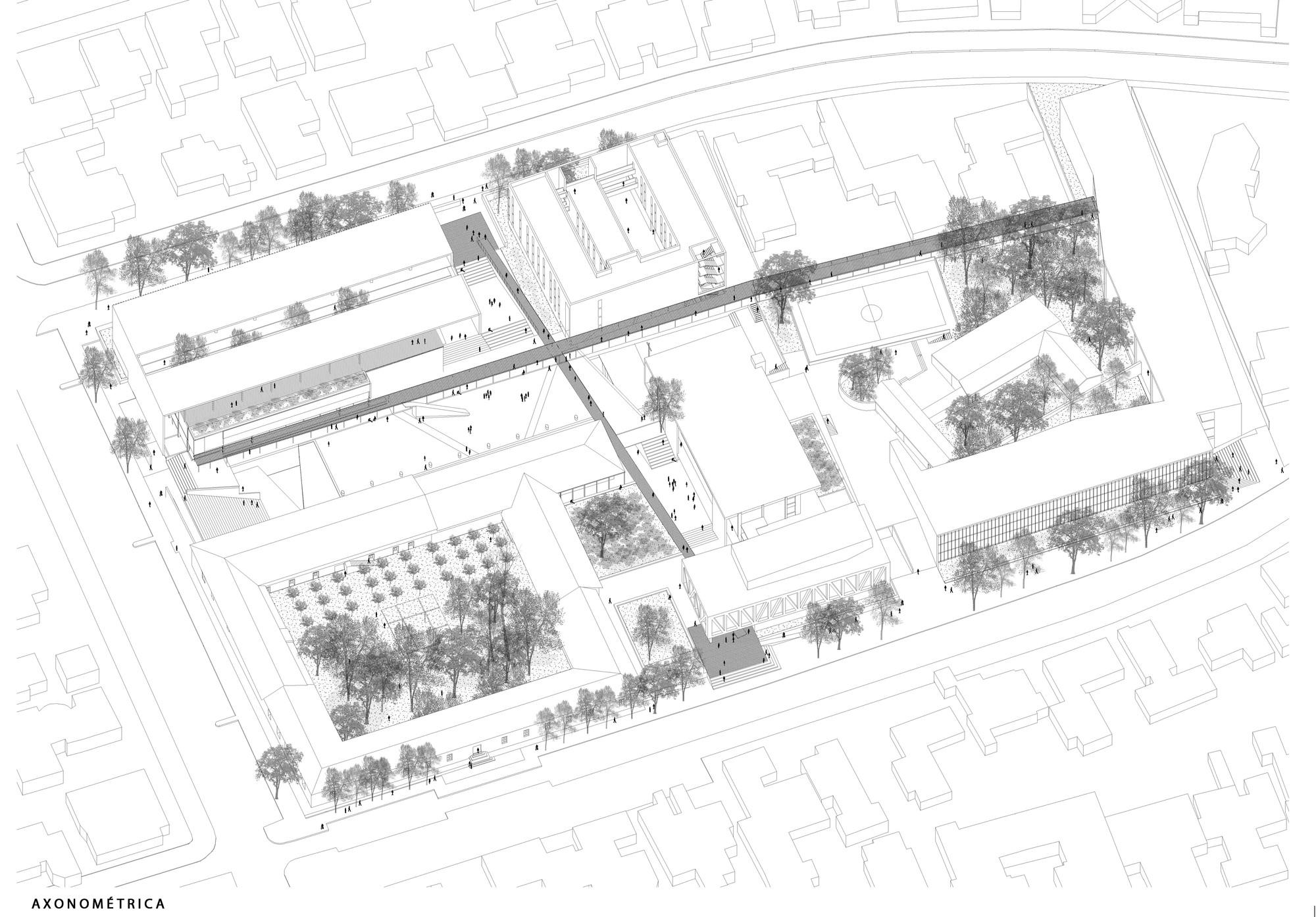 Baixas & del Río Arquitectos, segundo lugar en concurso de plan maestro del campus Lo Contador / Chile, Axonométrica. Image Cortesia de Baixas & del Río Arquitectos