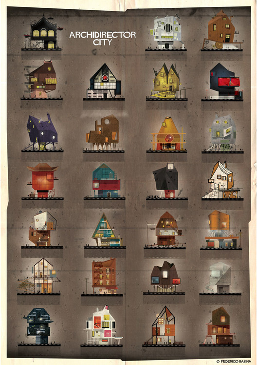 ARCHIDIRECTOR: A Fantastical City Inspired by Famous Directors by Federico Babina, © Federico Babina