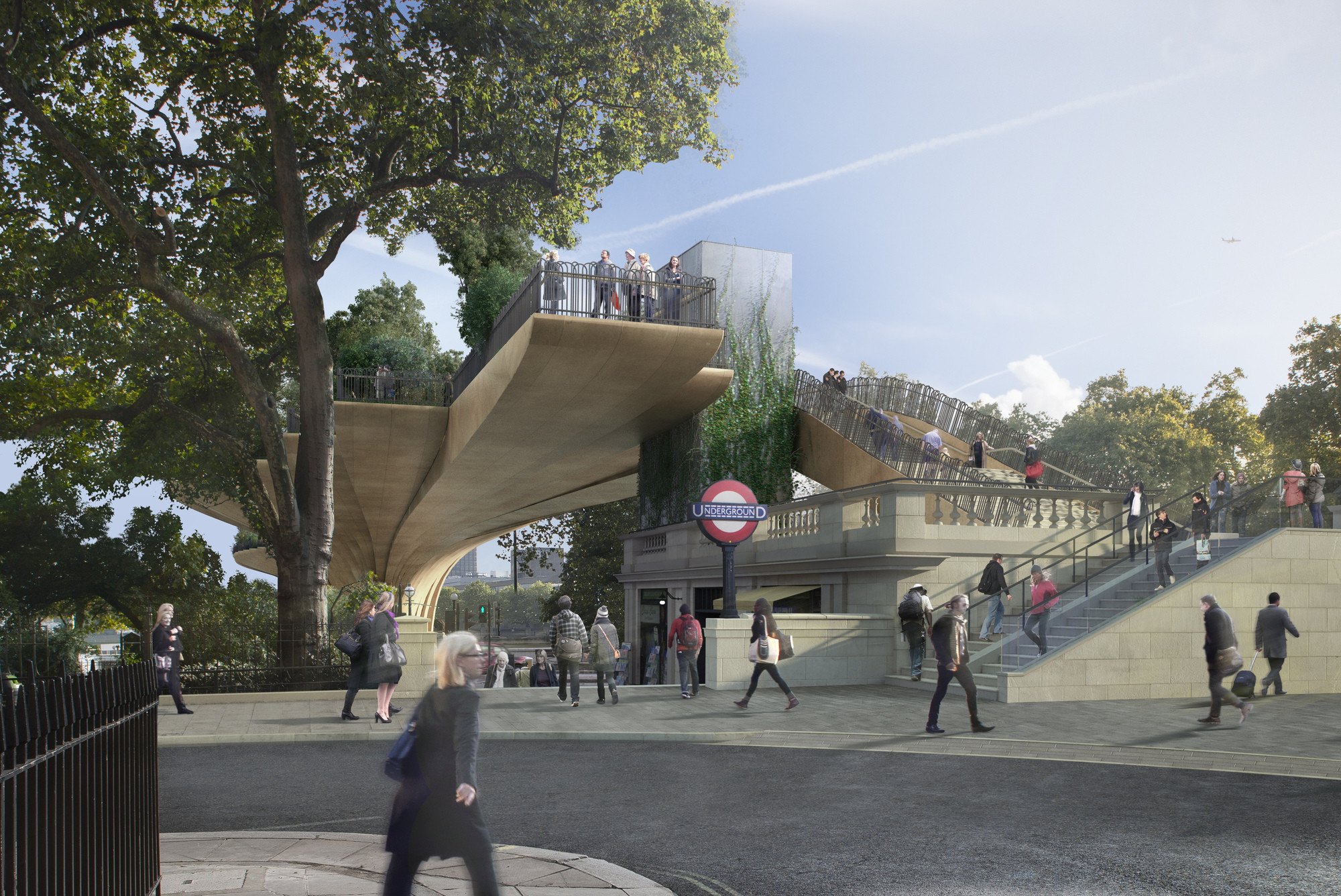 Transport for London Orders Review of the Garden Bridge Procurement Process, North Landing From Arundel Street. Image Courtesy of Arup