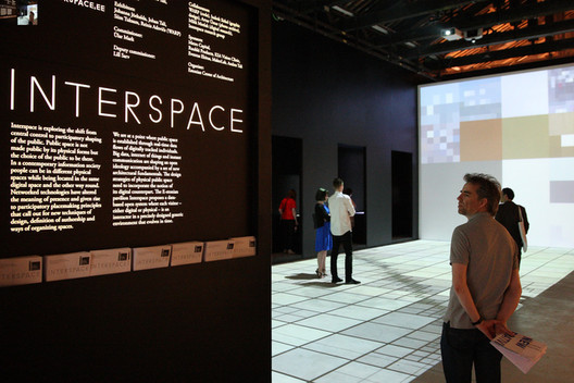"Estonian exposition ""Interspace"" at the 2014 Biennale; Johanna Jõekalda, Johan Tali and Siim Tuksam. Image Courtesy of Estonian Centre of Architecture"