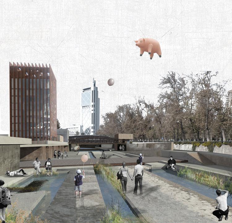 'Devolver el río a la ciudad', una propuesta para el río Mapocho de Santiago, Zona El Mirador. Image Cortesia de Emmanuelle Mariès y Thomas Bonnardel