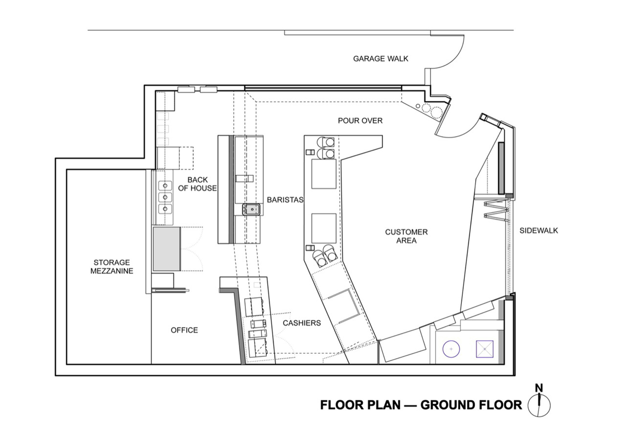 Gallery of coffee bar kearny jones haydu 14 for Coffee shop floor plan with dimensions