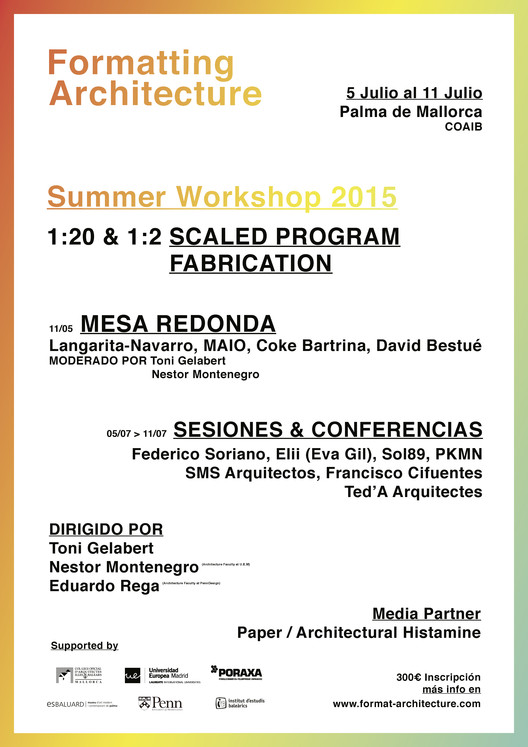 Workshop Formatting Architecture / España, Cartel español
