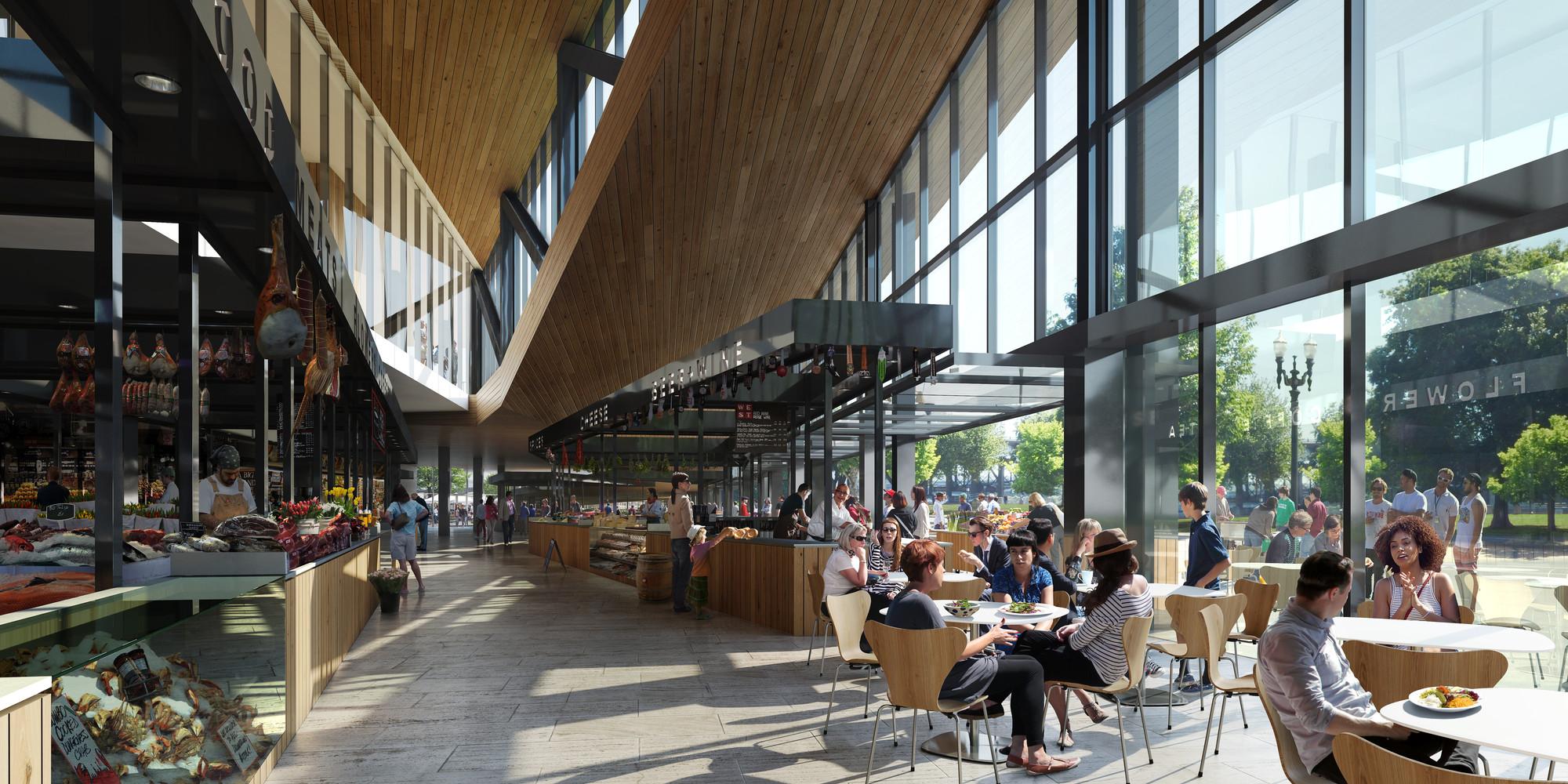 Gallery of sn hetta designs new public market for portland 3 for Portland oregon fish market