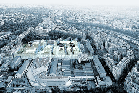 Studio 015's Winning Entry Aerial View. Image via Progetto Flaminio