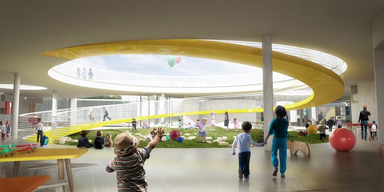 FP Arquitectura, primer lugar en concurso Ambientes de Aprendizaje del siglo XXI: Jardín Infantil Tibabuyes, Cortesia de FP arquitectura