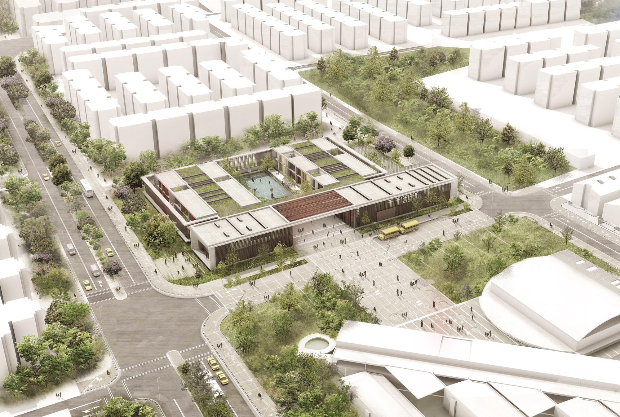 Colectivo 720 primer lugar en concurso ambientes de for Plantas de colegios arquitectura
