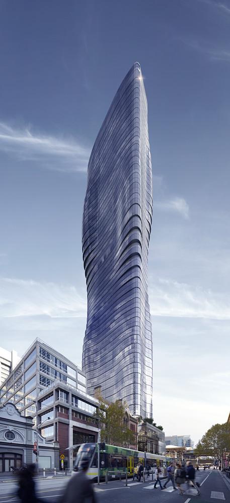 Beyonce's Curves Inspire Elenberg Fraser's Design for Melbourne Tower  , © Elenberg Fraser