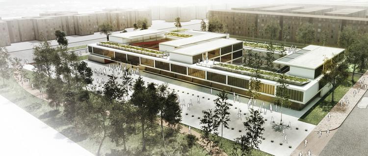 Tercer lugar: vista aérea. Image Cortesía de EMS Arquitectos
