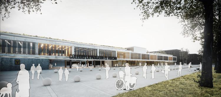 Tercer lugar: fachada principal. Image Cortesía de EMS Arquitectos