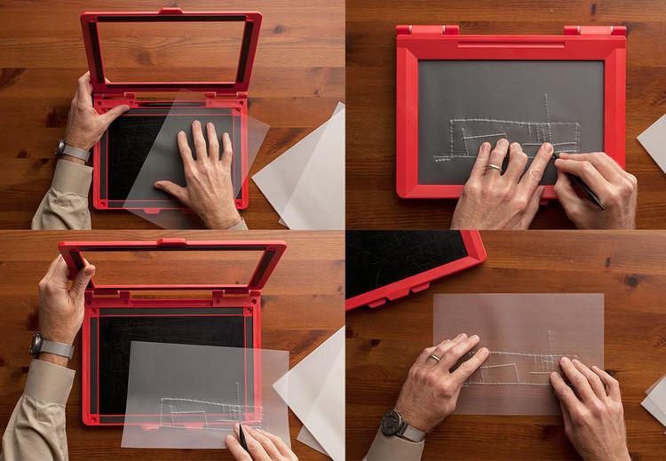 4 meios da tecnologia melhorar a arquitetura para (e por) cegos, inTACT Sketchpad para deficientes visuais. Imagem via Dwell Magazine, Cortesia de Don Fogg