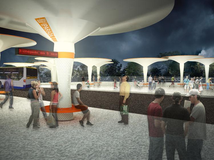 Studio Lauria propõe mobiliário urbano que gera energia e armazena água da chuva, Bromelia. Image Cortesia de Studio Lauria