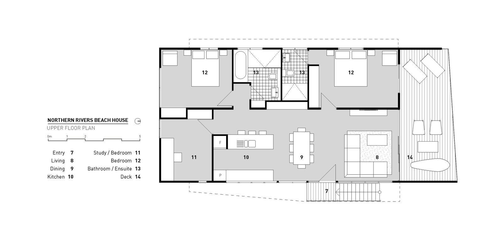 Northern Rivers Beach House,Upper Floor Plan