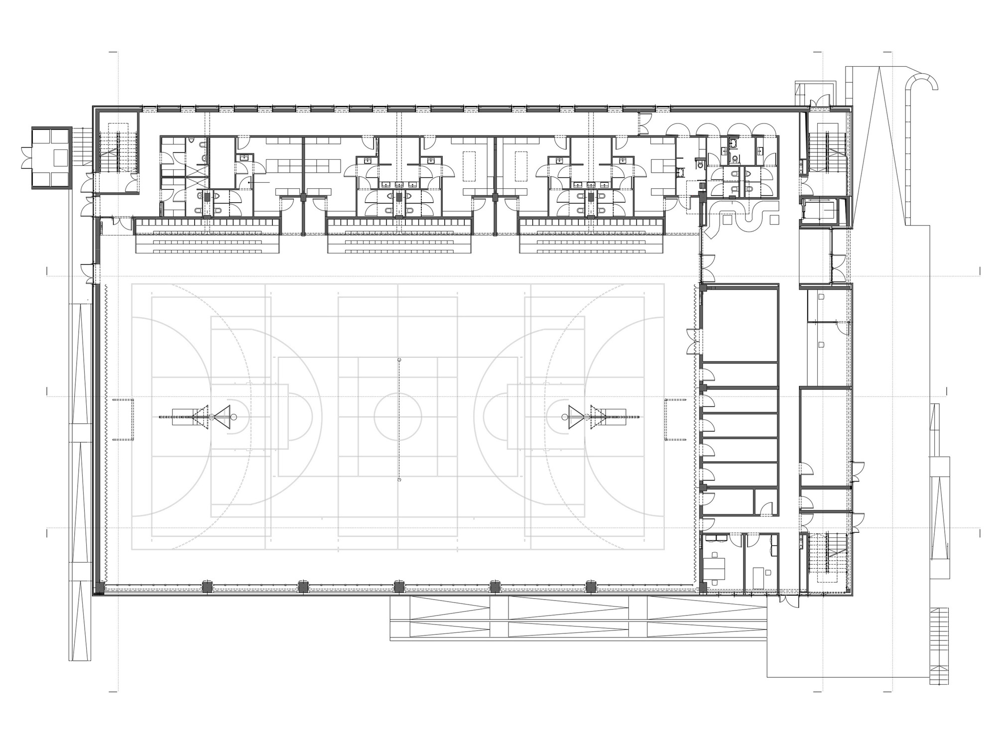 Gallery of sports hall in poznan neostudio architekci 37 for Basketball gym floor plan