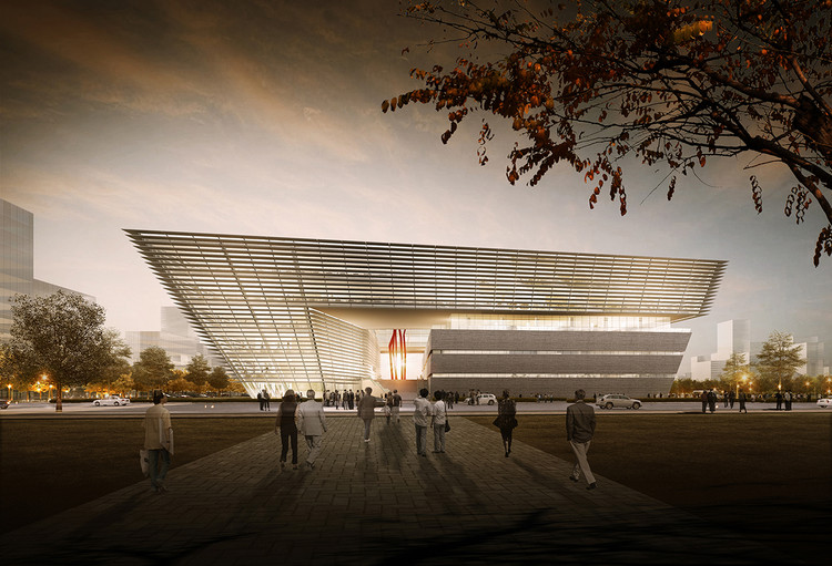 gmp Selected to Design New Library in Suzhou, Entrance of library. Image © Willmore CG