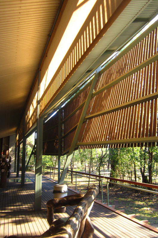 Bowali Visitor Information Centre, Kakadu National Park (1994), designed in collaboration with Troppo Architects. Image © <a href='https://www.flickr.com/photos/lukedurkin/8081173027'>Flickr user lukedurkin</a> licensed under <a href='https://creativecommons.org/licenses/by/2.0/'>CC BY 2.0</a>