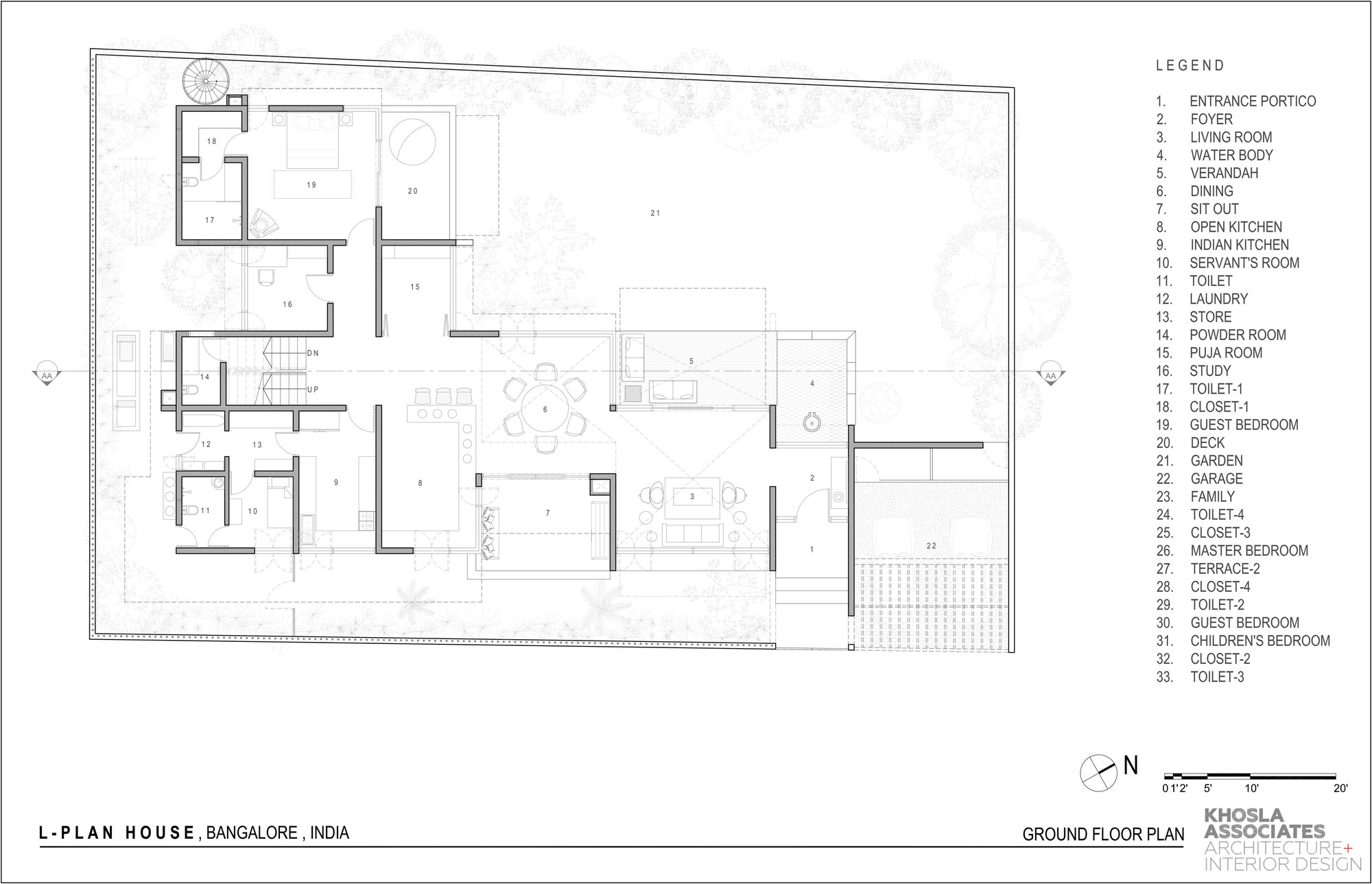 Gallery of L- Plan House / Khosla Associates - 18