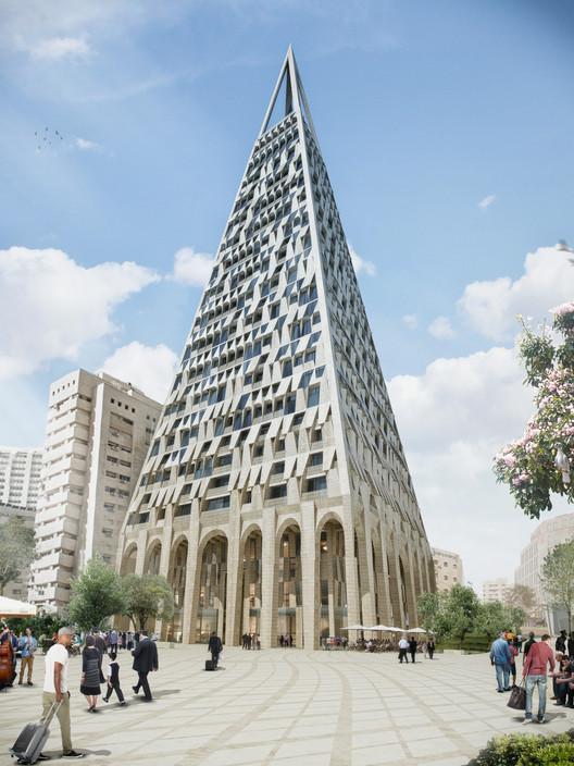 """Pyramid Tower"" de Daniel Libeskind é aprovada em Jerusalém, © Studio Libeskind"