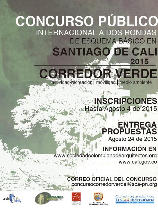 Concurso público internacional para el Corredor Verde de Santiago de Cali / Colombia