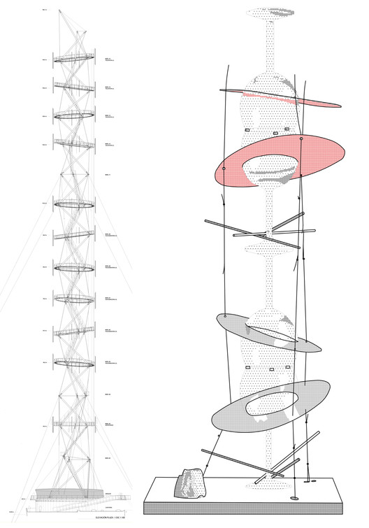 Del Prototipo al Proyecto / La experiencia de Smiljan Radic con Frágil y la Torre Antena, Torre Antena Santiago (izquierda) / Frágil (derecha)